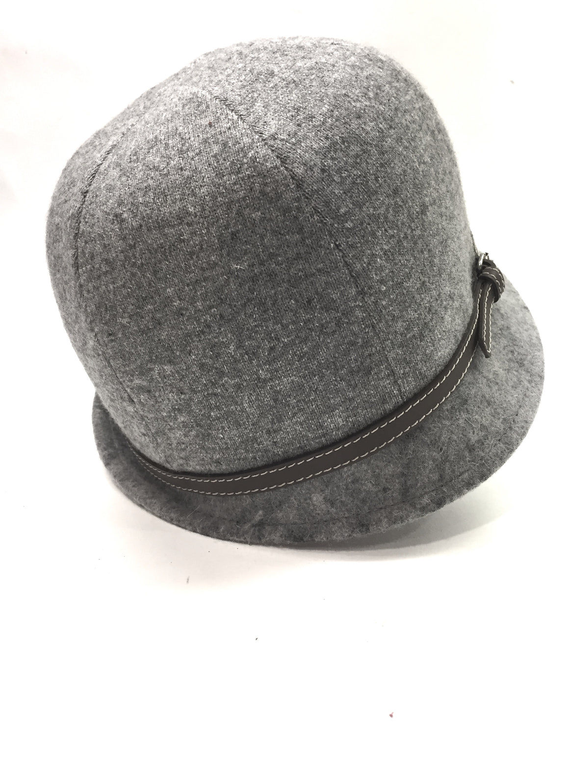 FABIANA FILIPPI Gray Wool Silk Cashmere Hat with Brown Leather Strap
