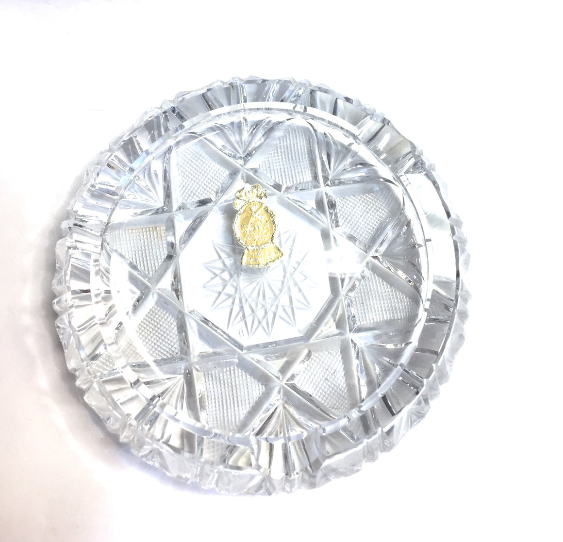Vintage New IMPERLUX Clear Hand-Cut Etched Crystal Ashtray
