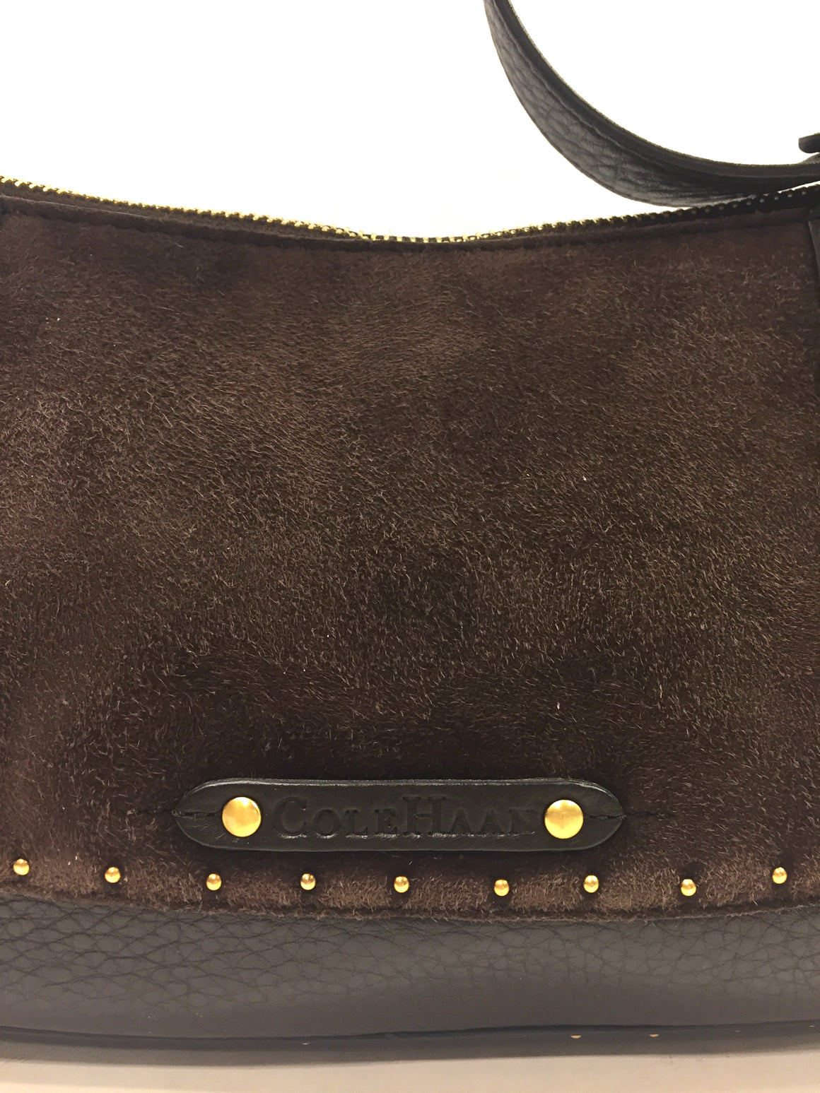COLE HAAN Brown Grained Leather & Suede Gold-Stud Accent Small Shoulder Bag