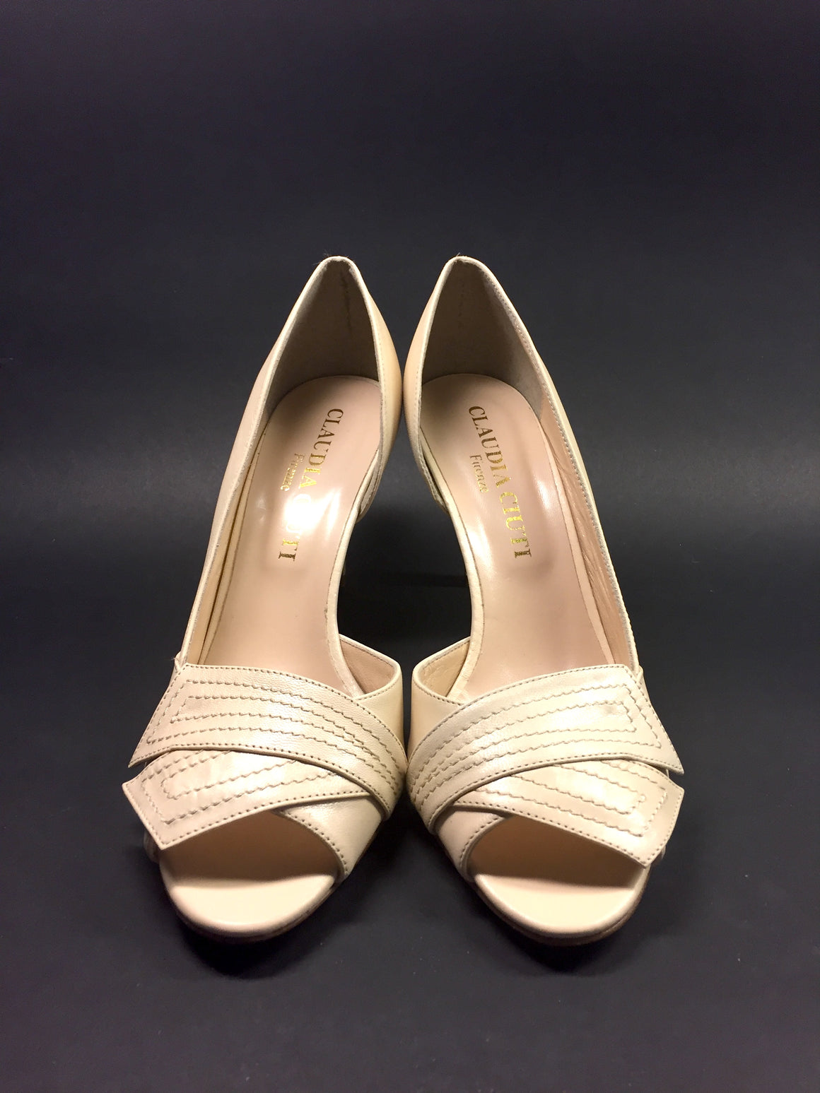 CLAUDIA CIUTTI Beige Leather Open-Toe Bow Heel Pumps Sz9