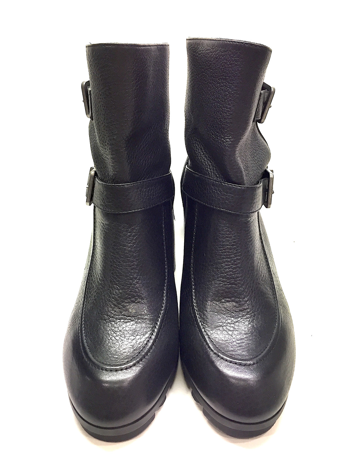 "New ROBERT CLERGERIE Black Leather 'APIN"" Heel Ankle Boots Booties Sz39.5"