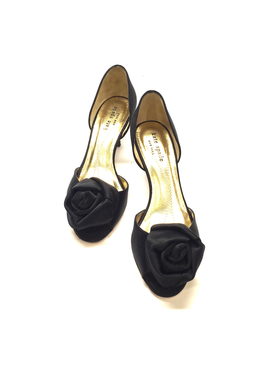 KATE SPADE Black Silk Rosette Accent Peep-Toe D'Orsay Kitten Heel Pumps Sz6B