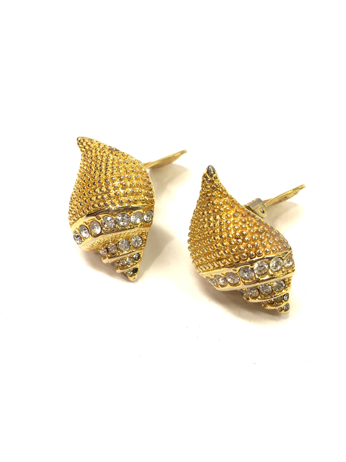 KENNETH J. LANE -KJL- Goldtone Seashell Crystal Trim Clip-On Earrings