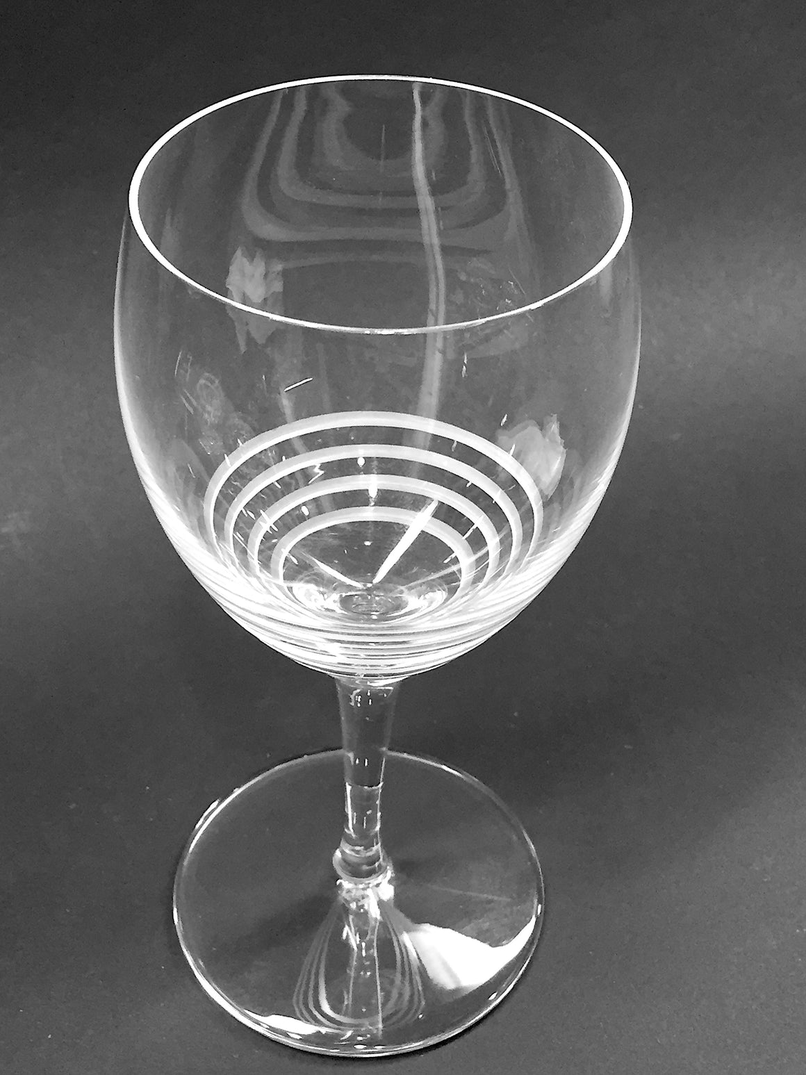 HERMES Clear Crystal Etched Concentric Circles Wine Glass