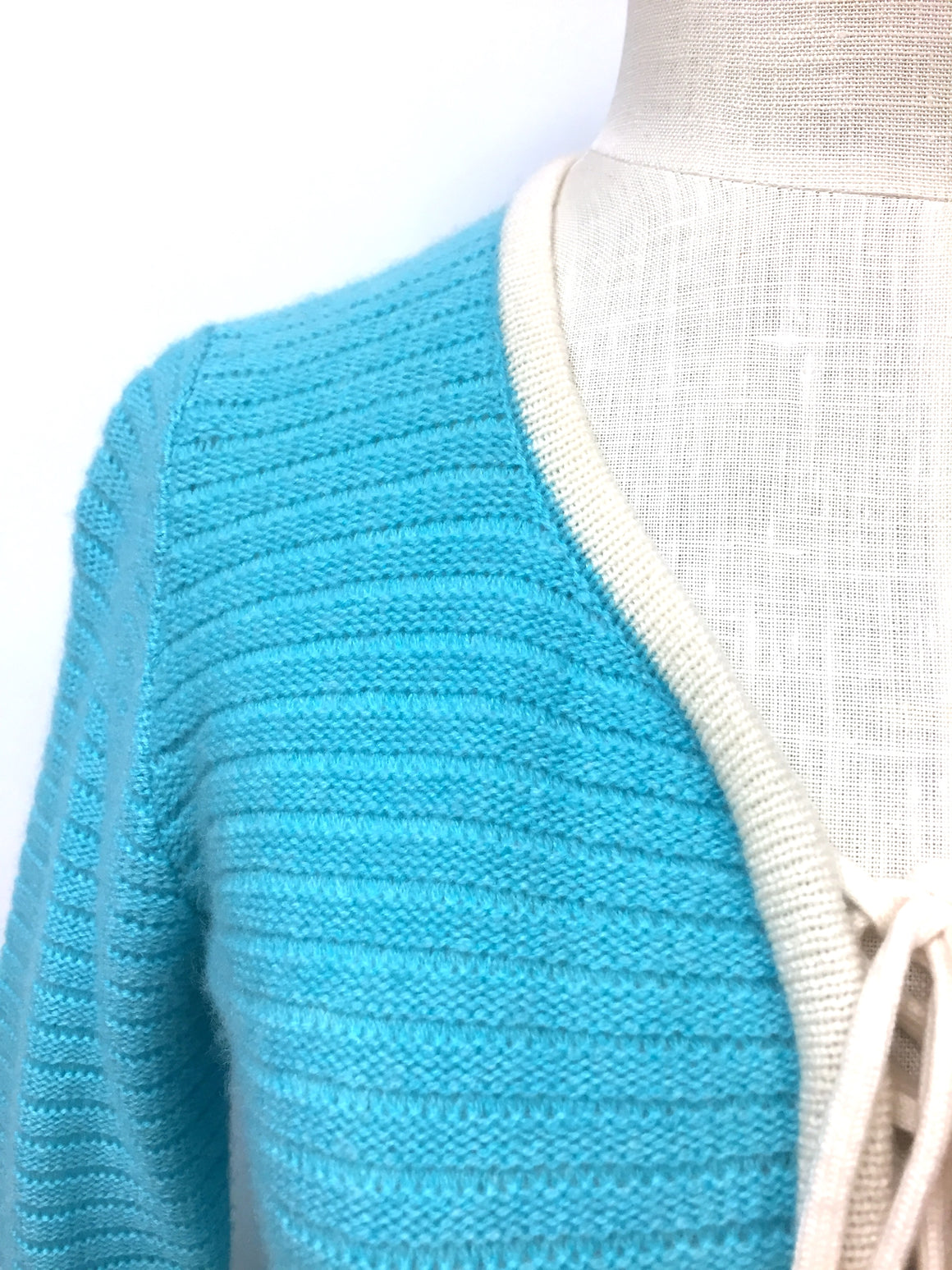 GINNY H Turquoise Cashmere Ivory Trim Lace-Up Neckline Tunic Sweater Sz S/M