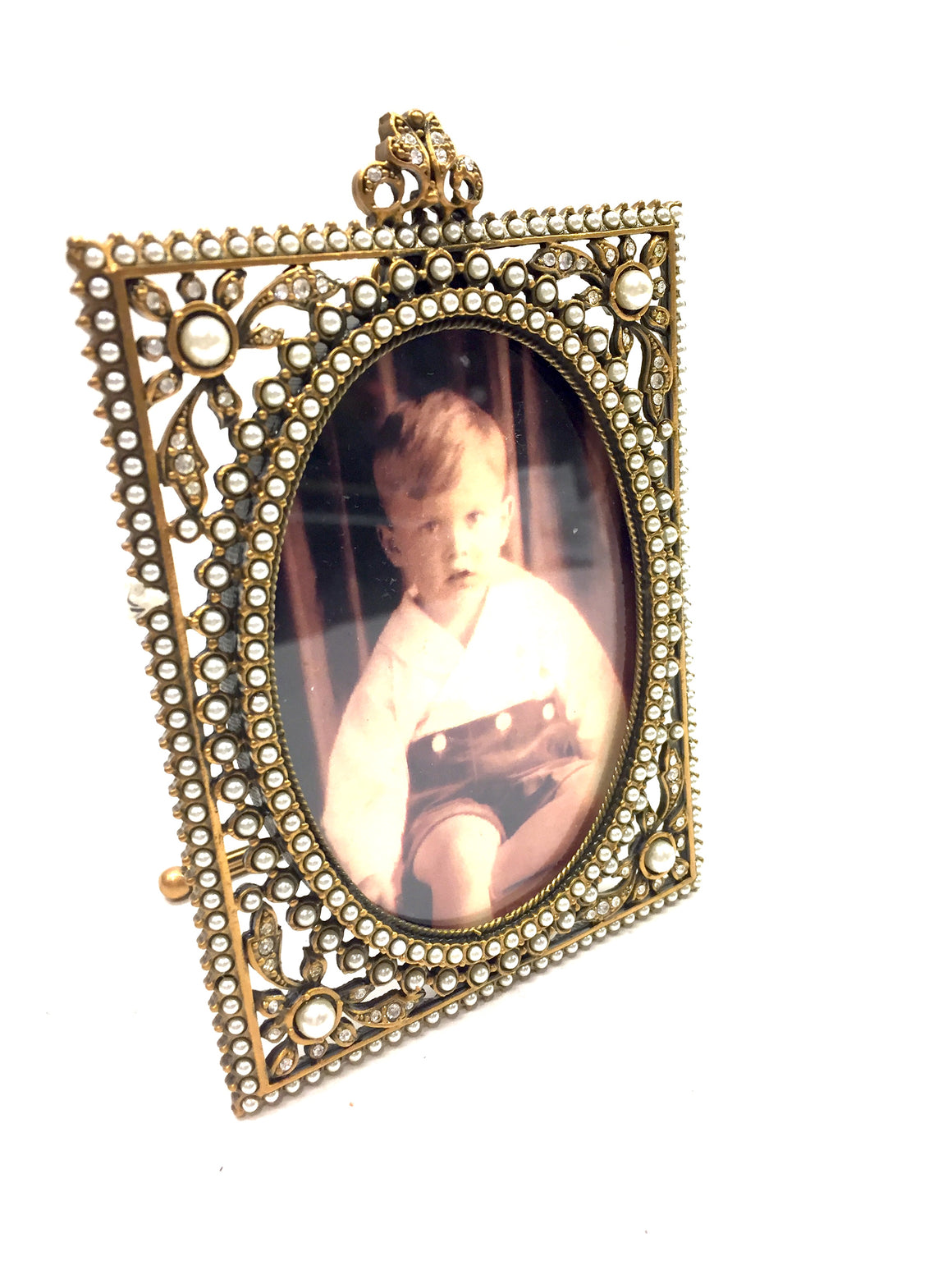 New EDGAR BEREBI Limited Edition Bronze Pearl & Crystal Jeweled Photo Frame