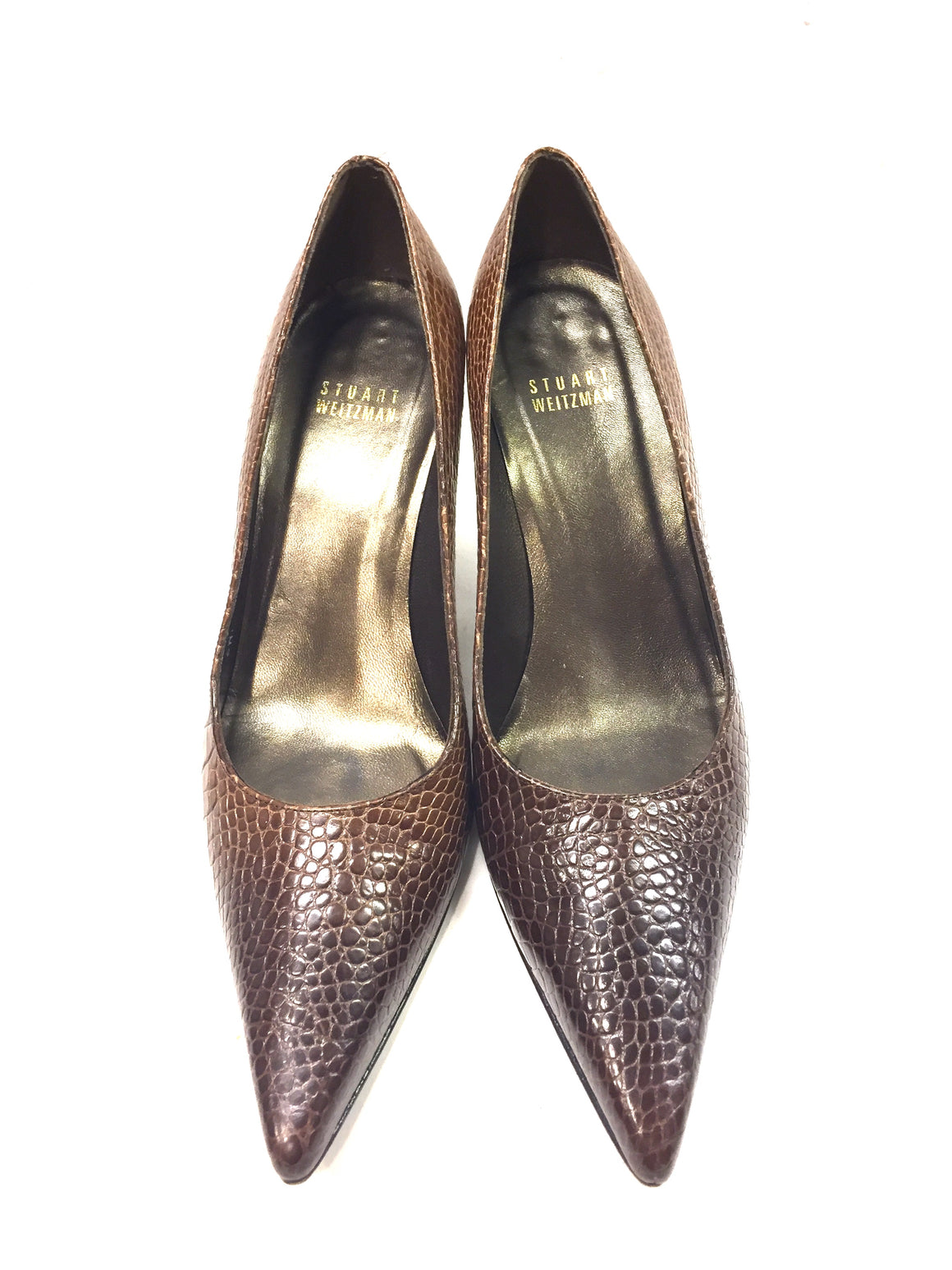 STUART WEITZMAN Tan/Brown Ombre Moc-Croc Leather Heel Pumps Sz 7M