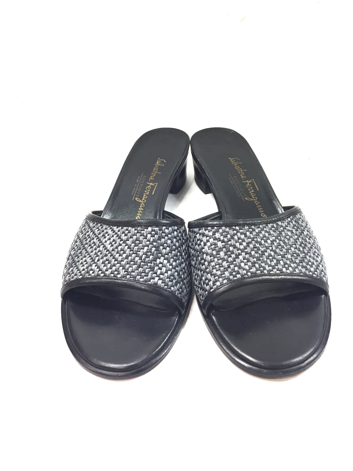 FERRAGAMO Black Leather Gray Woven Raffia Low-Heel Slides Mules Sandals Sz7.5B