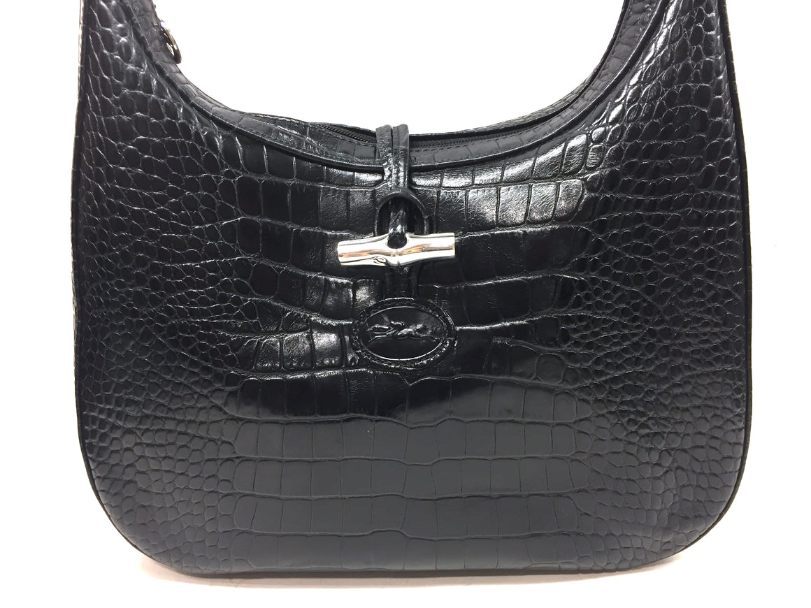 LONCHAMP Black Croc-Patterned Leather Toggle Closure Hobo Shoulder Bag