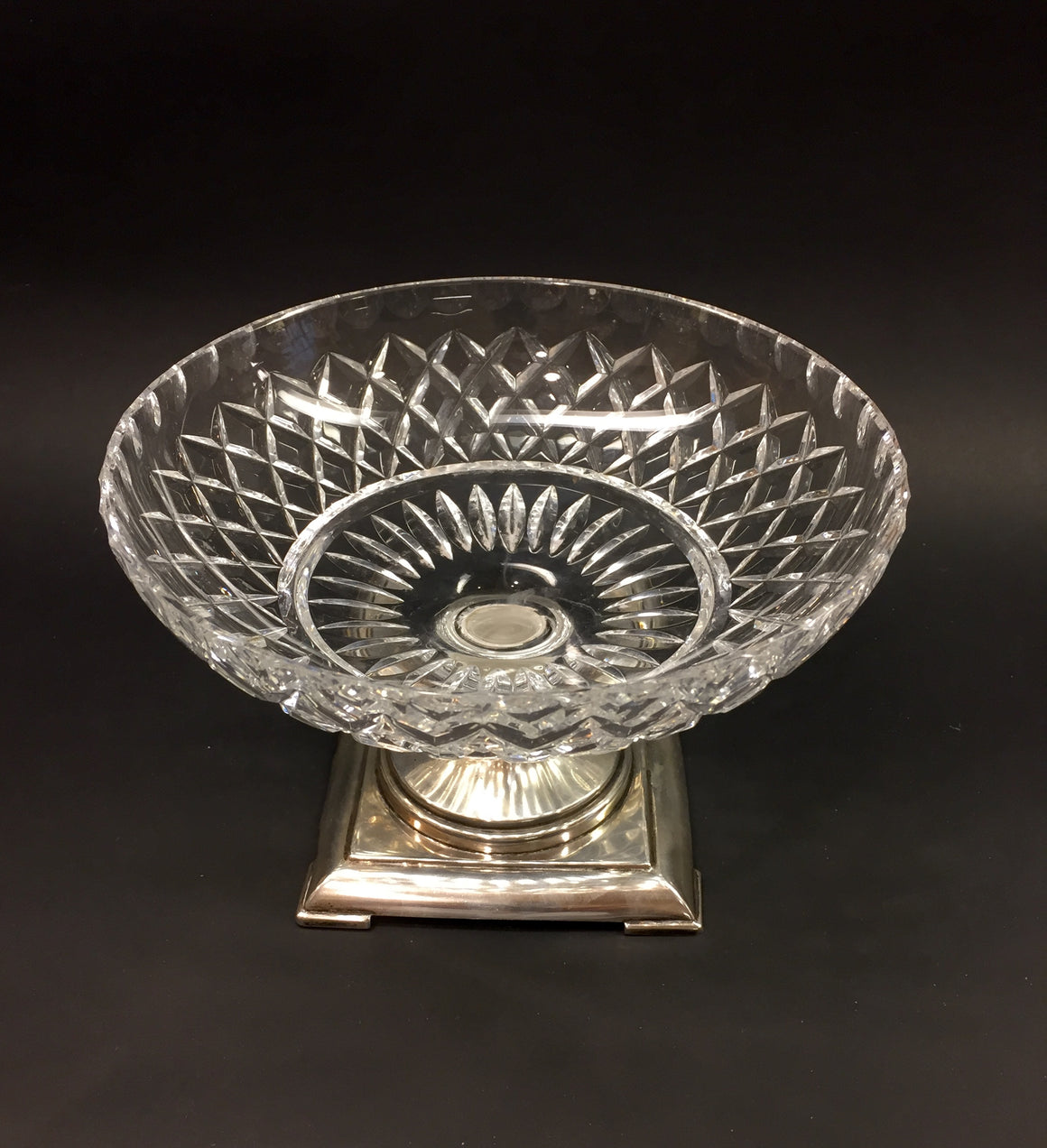 Vintage HAWKES Clear Diamond-Cut Crystal Sterling Silver Base Footed Bowl Compote