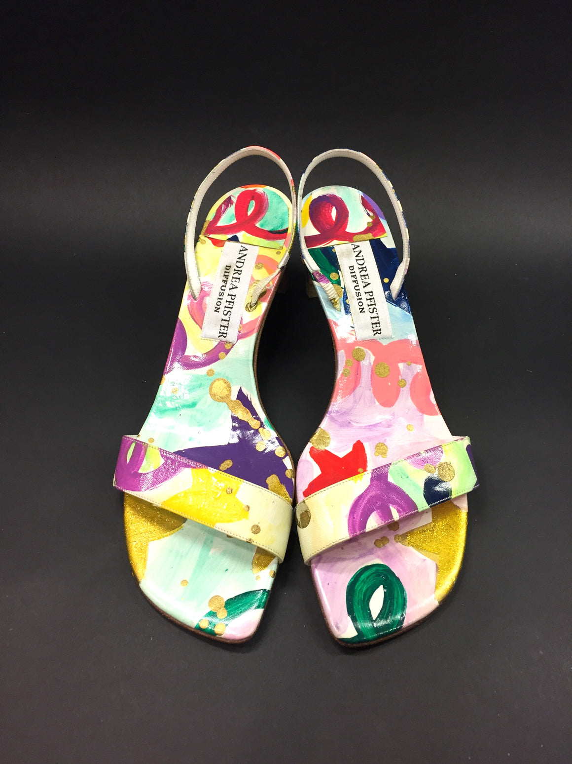 Vintage ANDREA PFISTER Multicolor Graffiti-Print Leather Slingback Sandals Sz39.5