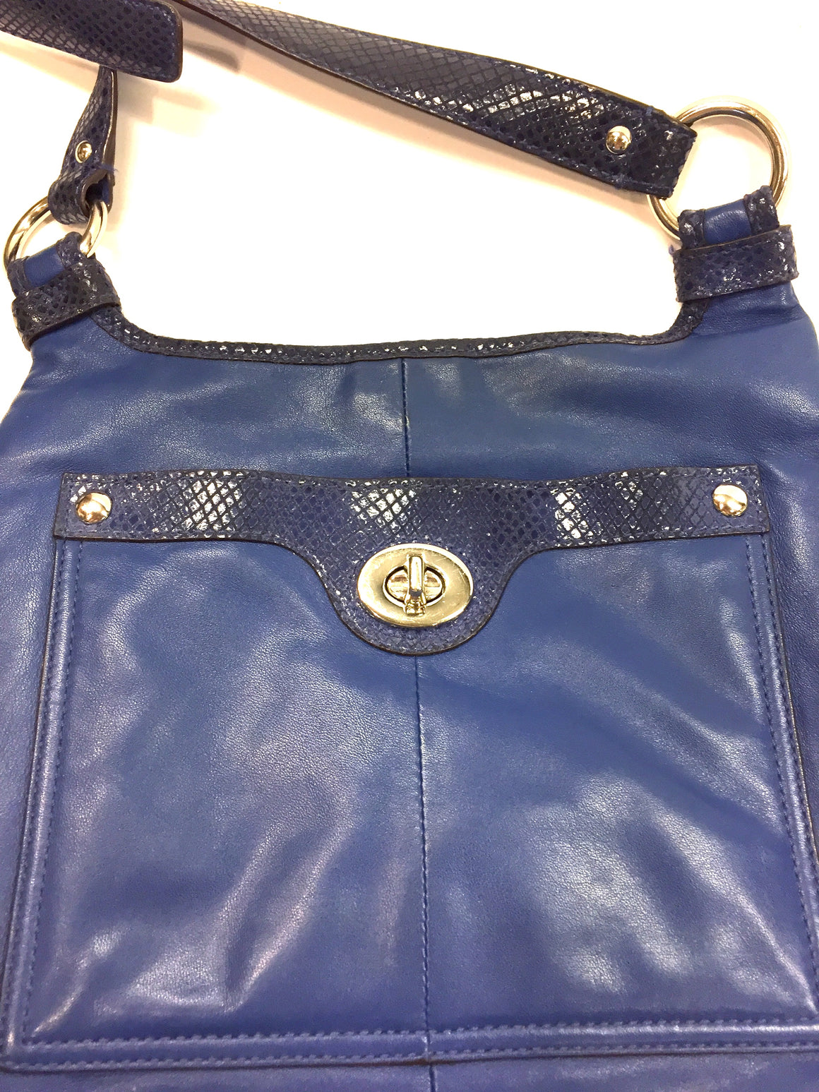 COACH Royal-Blue Leather Faux Reptile Trim Cross-Body Messenger Bag