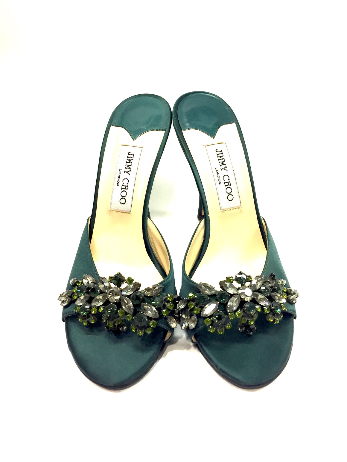 JIMMY CHOO Forest-Green Satin Jeweled Embellishment Hi-Heel Slip-On Sandals Sz41