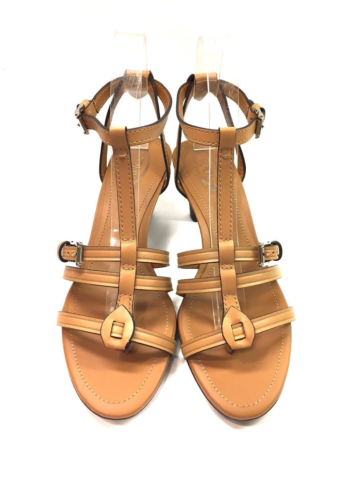 New TOD'S Tan Leather Ankle-Strap Slingback Heel Thong Sandals Shoes Sz37