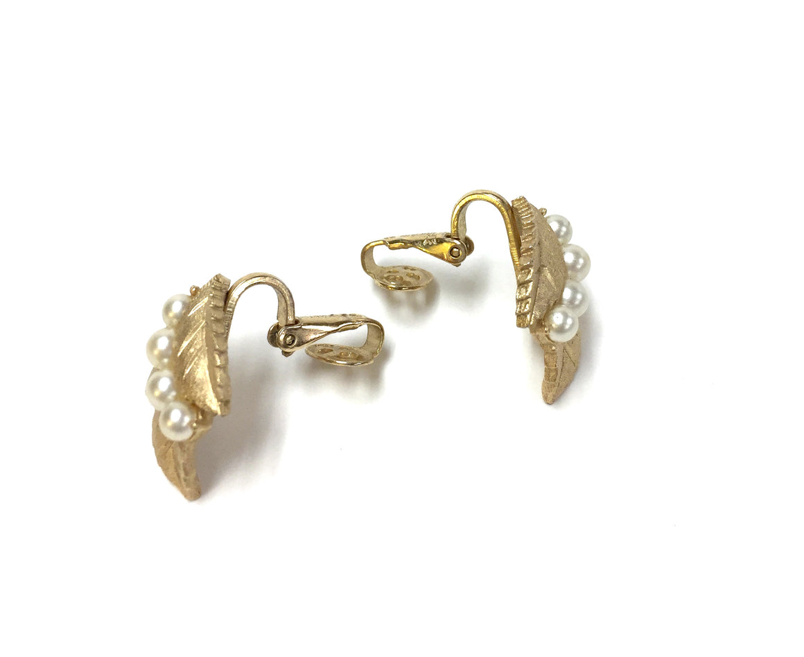 TRIFARI Vintage Florentine Gilt Metal Three-Leaf Four-Pearl Accent Clip Earrings