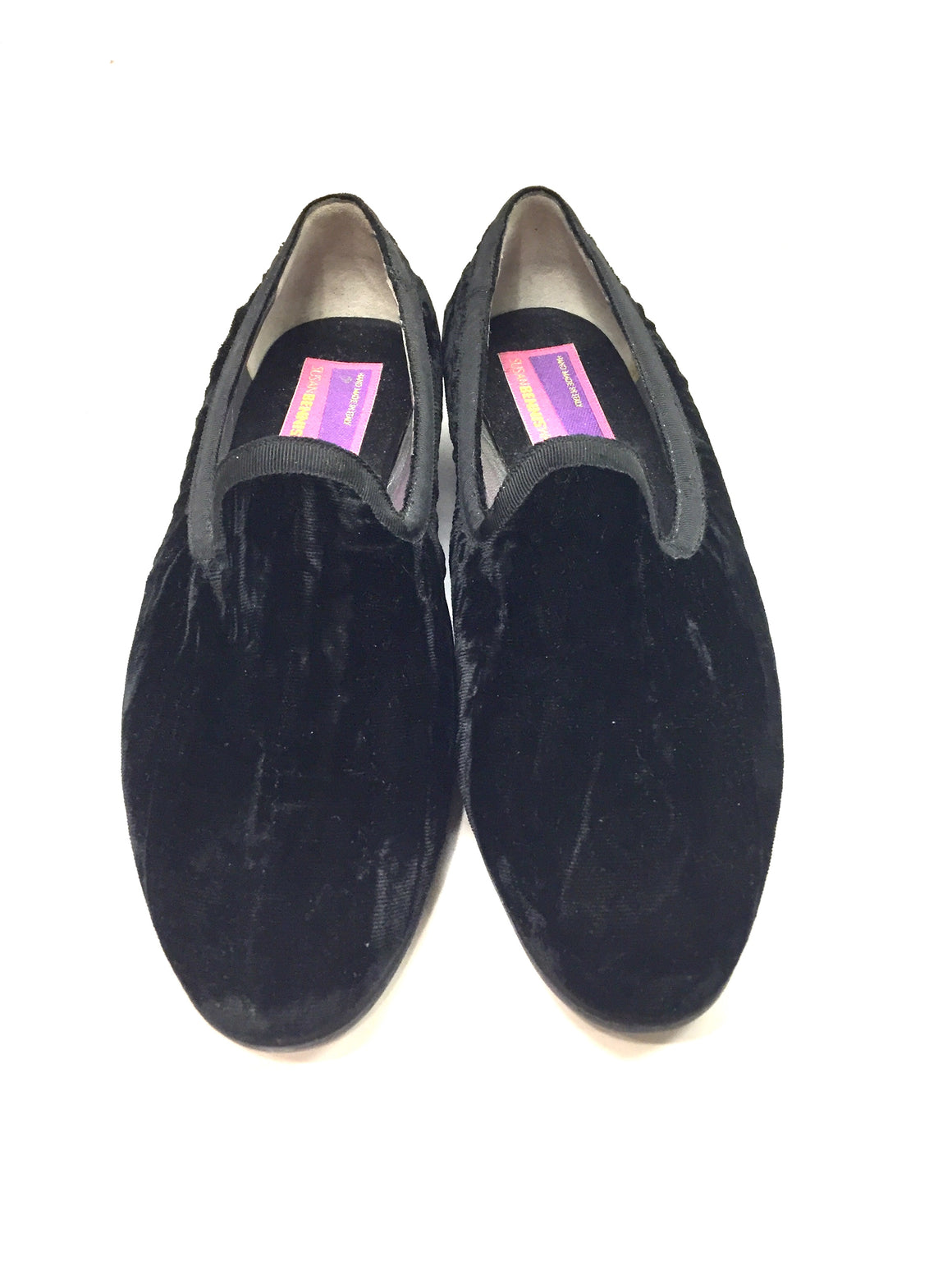 Vintage SUSAN BENIS/WARREN EDWARDS Black Crushed Velvet Smoking Slip-On Flats Sz9