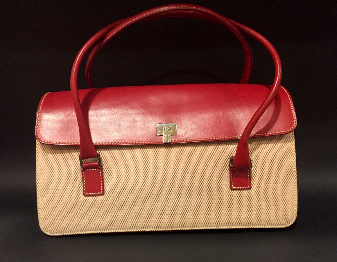LAMBERTSON TRUEX Red Leather & Canvas Box Car Hand Bag