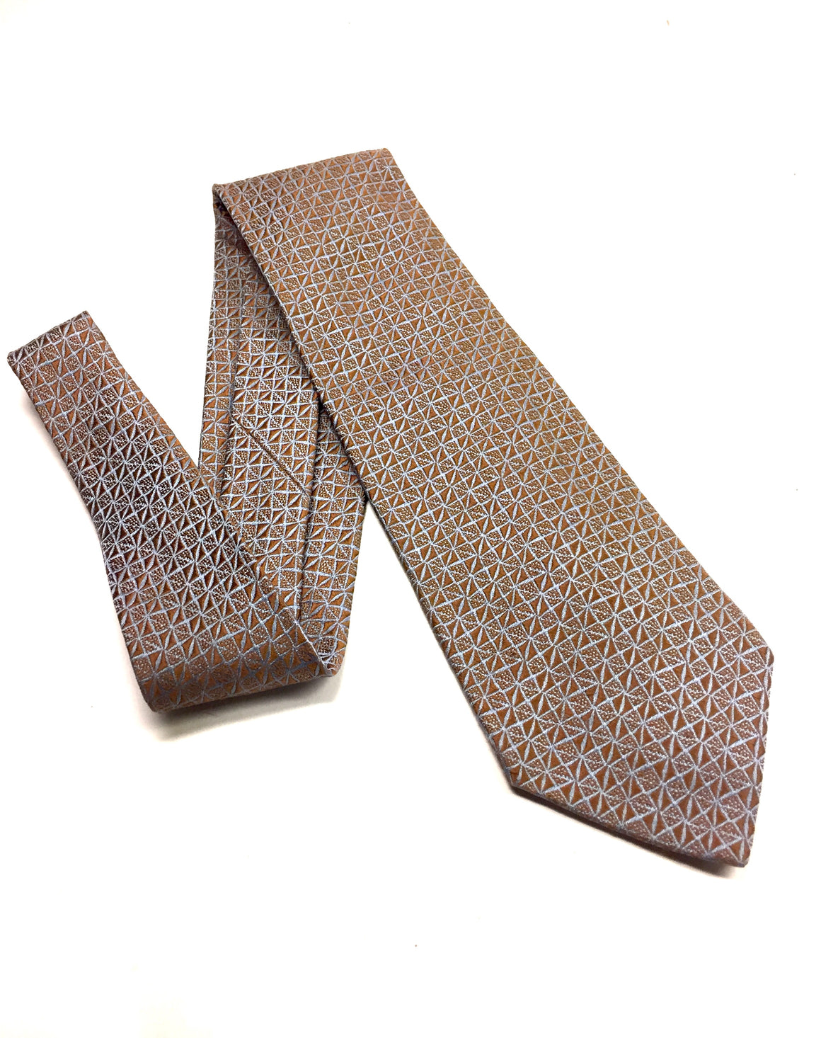CHARVET Wedgewood-Blue/Honey-Brown Diamond Pattern Textured Silk Men's Neck Tie