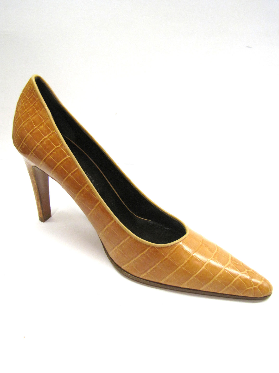 bisbiz.com BOTTEGA VENETA Butterscotch Orange Croc Skin Pointy-Toe Classic Heel Pumps - Bis Luxury Resale