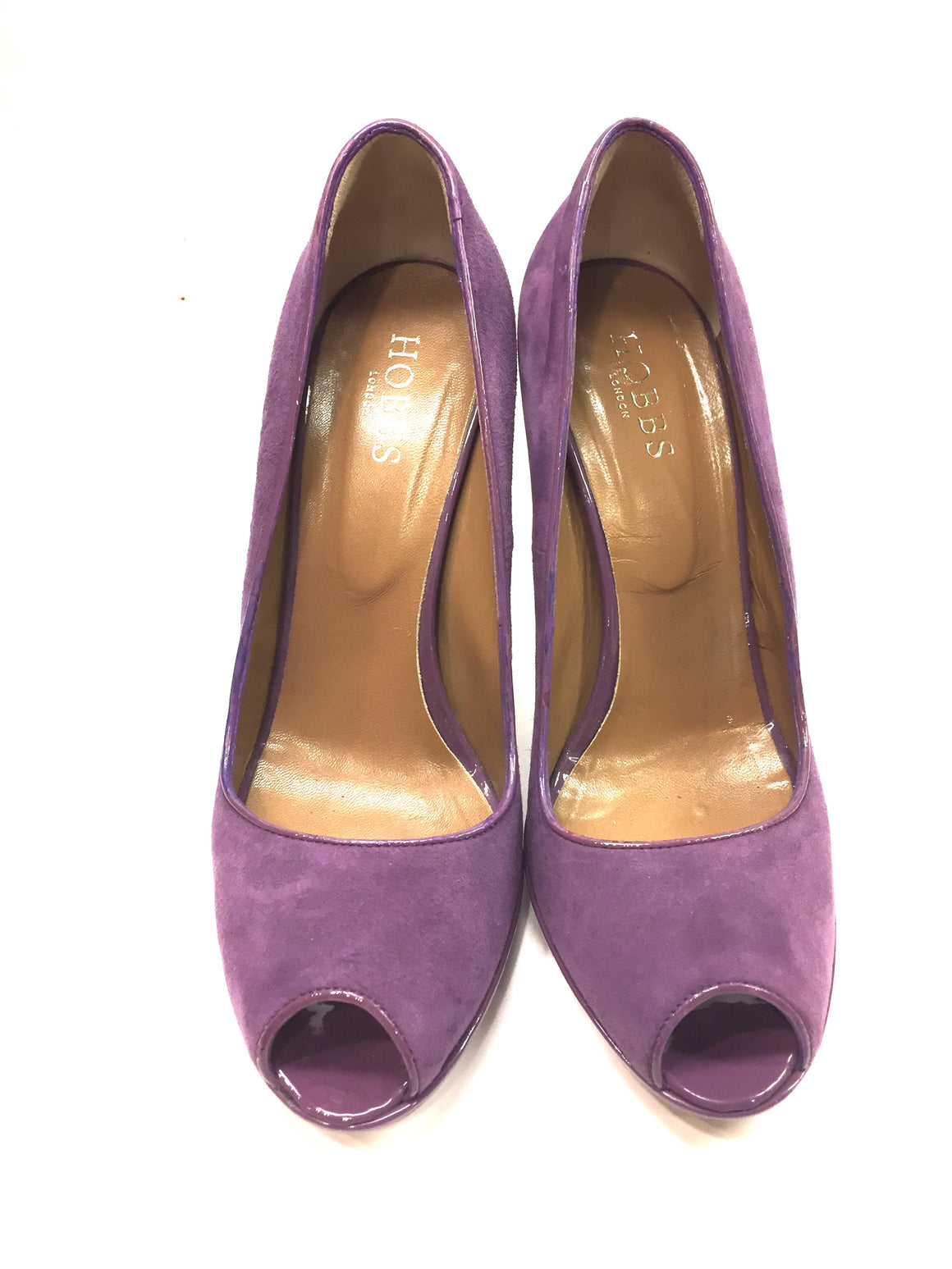HOBBS LONDON Orchid-Purple Suede & Patent Leather Peep-Toe Platform Heels Pumps Sz39