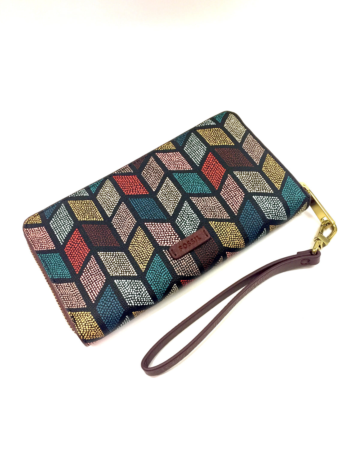 New FOSSIL Brown Synthetic Leather/Multicolor Canvas Zip-Around Wallet/Wristlet