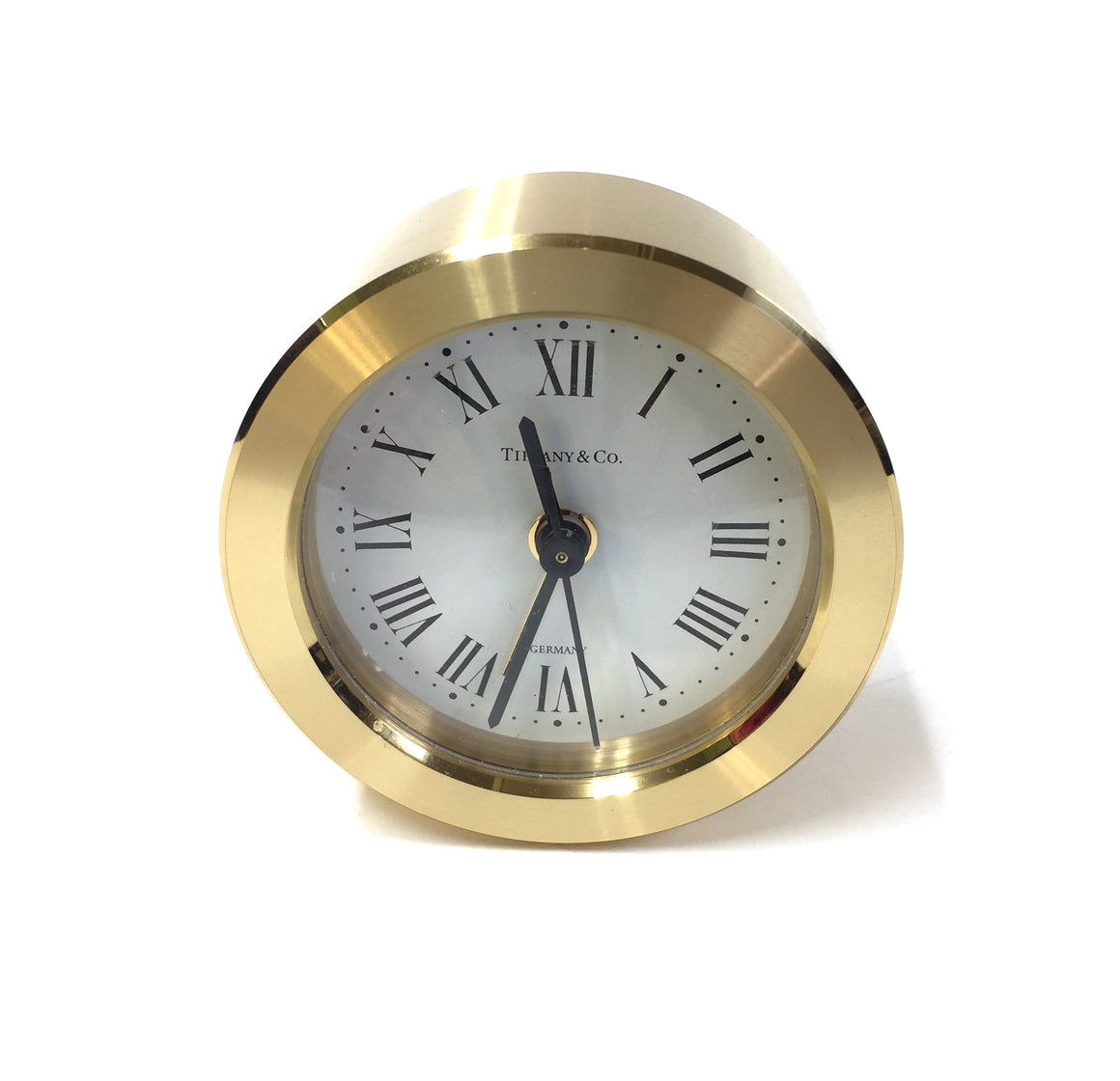 TIFFANY & CO. Brushed Brass Roman Numerals Round Desk/Alarm Clock