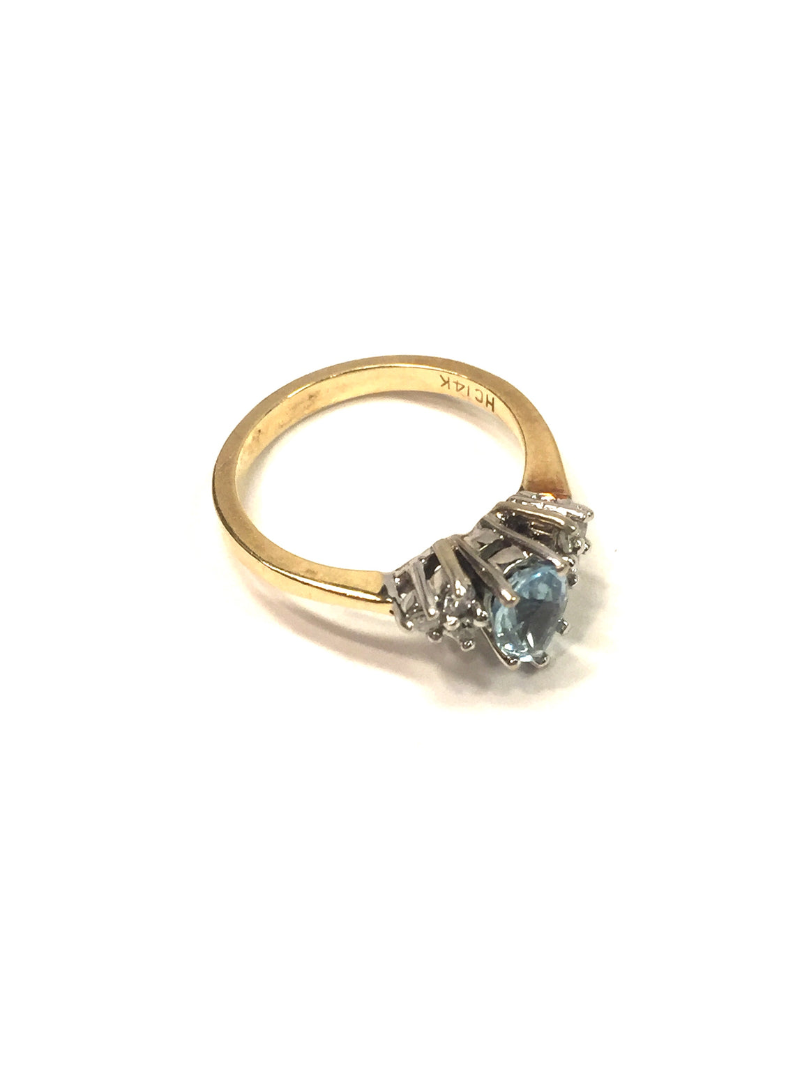 14K Yellow & White Gold Teardrop Blue Topaz Center Diamond Chips Ring Sz6.25