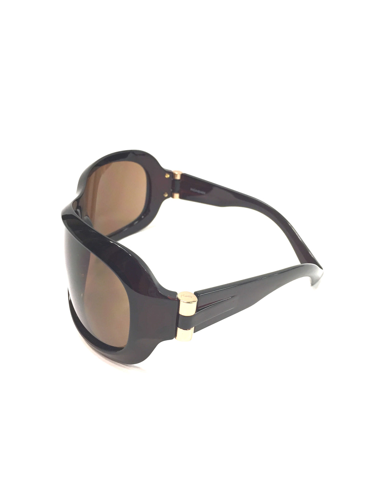 YVES ST. LAURENT-YSL-Brown Acetate Frame & Lenses Wraparound Sunglasses #6149/S