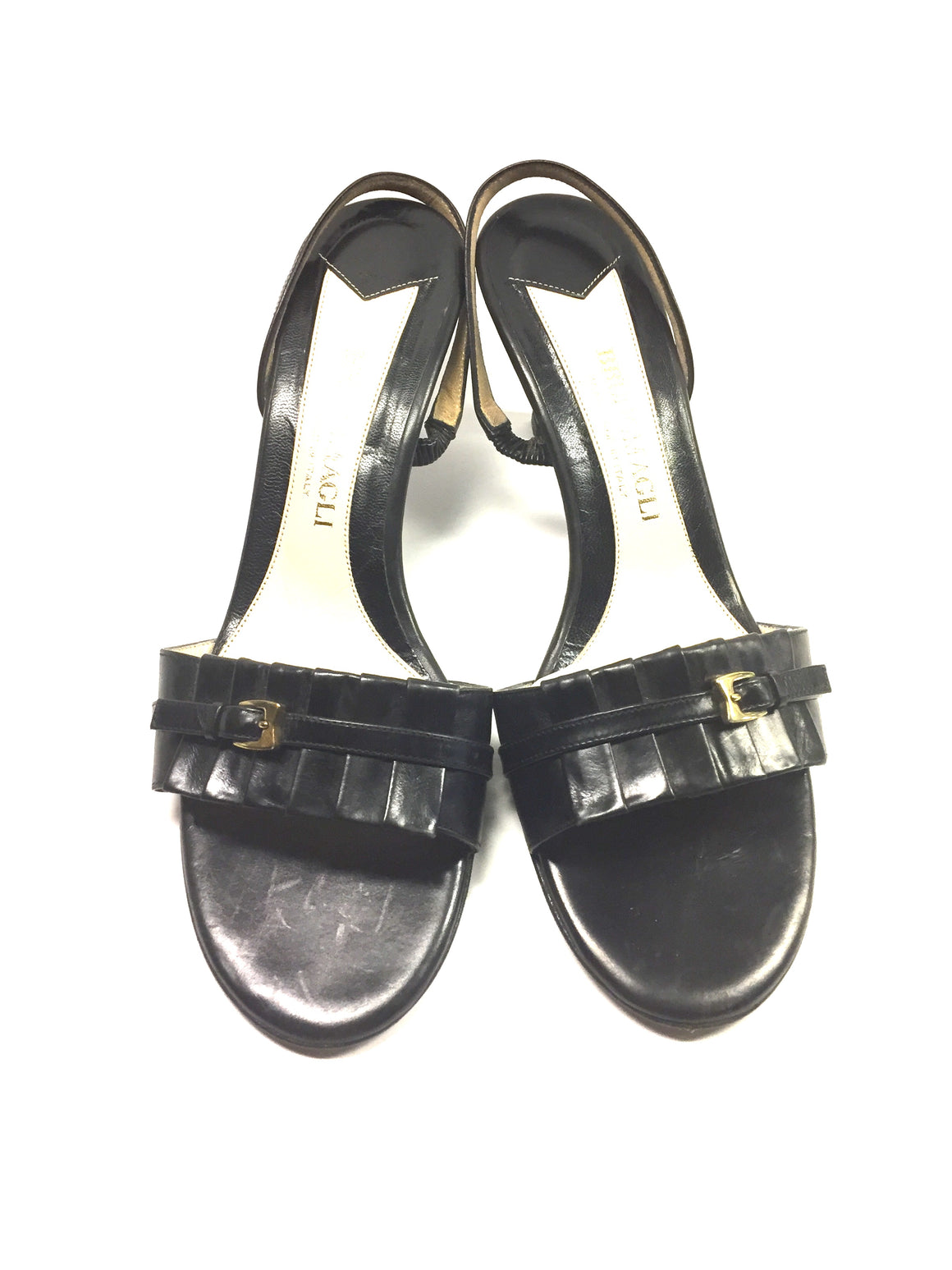 BRUNO MAGLI Black Leather Pleated Uppers Slingback Heel Sandals Sz7.5