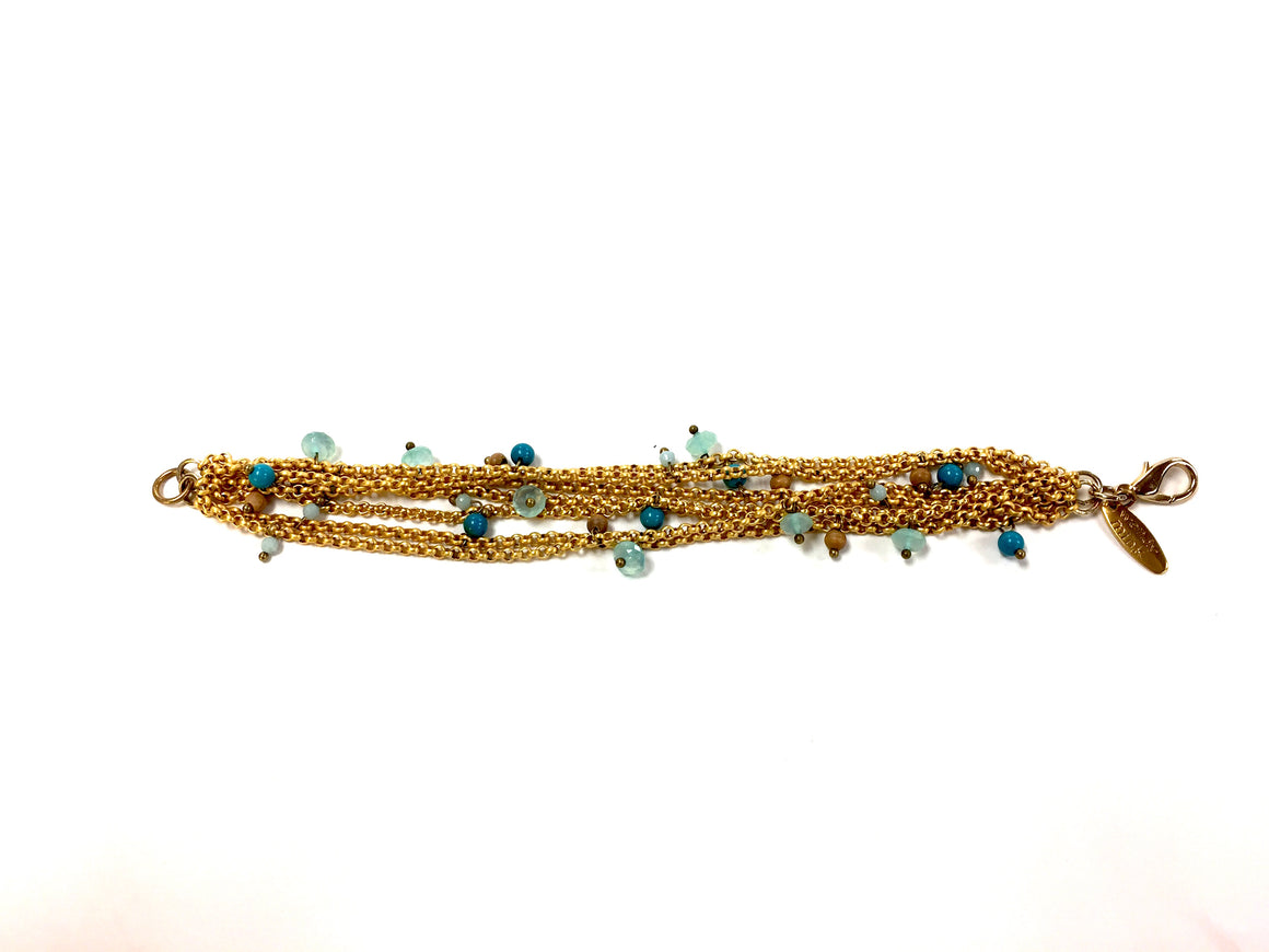 WENDY WINK Seven-Strand Gold Chain Link Bracelet w/Dangling Beads