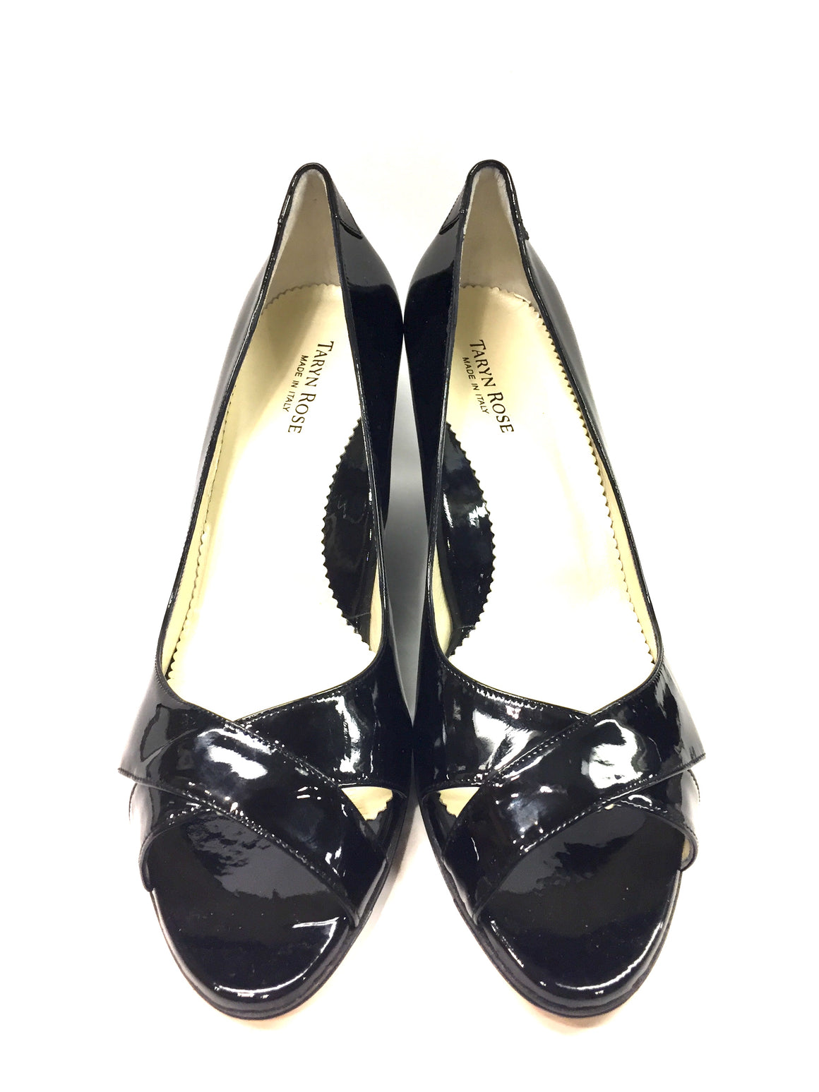 New TARYN ROSE Black Patent Leather Open-Toe Wedge Heel Pumps Sz42