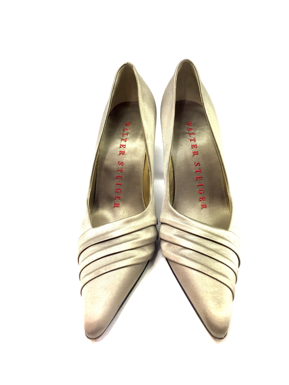 WALTER STEIGER Light-Gold Silk Pointed-Toe Hi-Heel Pumps Shoes Sz8b