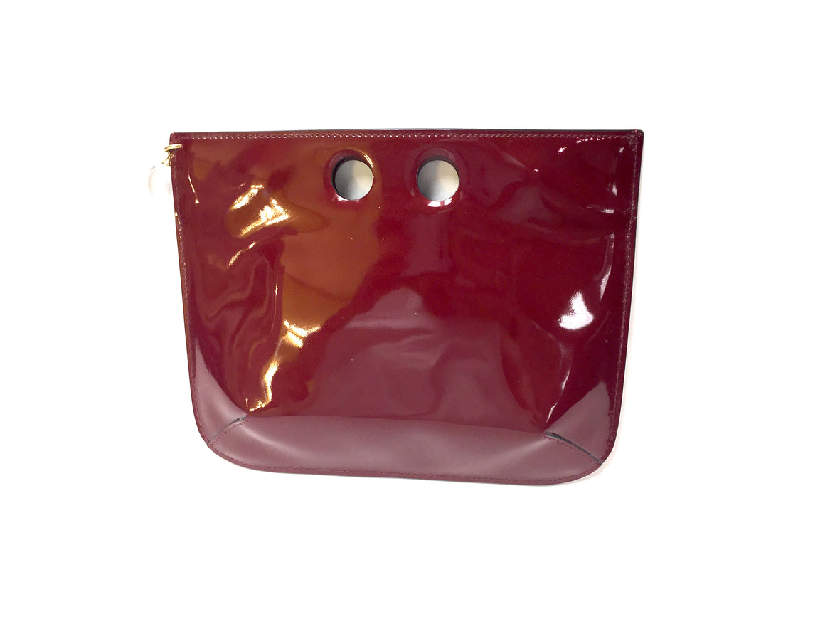 bisbiz.com BACCARAT  Crimson Red Patent Leather Clear Crystal Ball Clutch Bag - Bis Luxury Resale