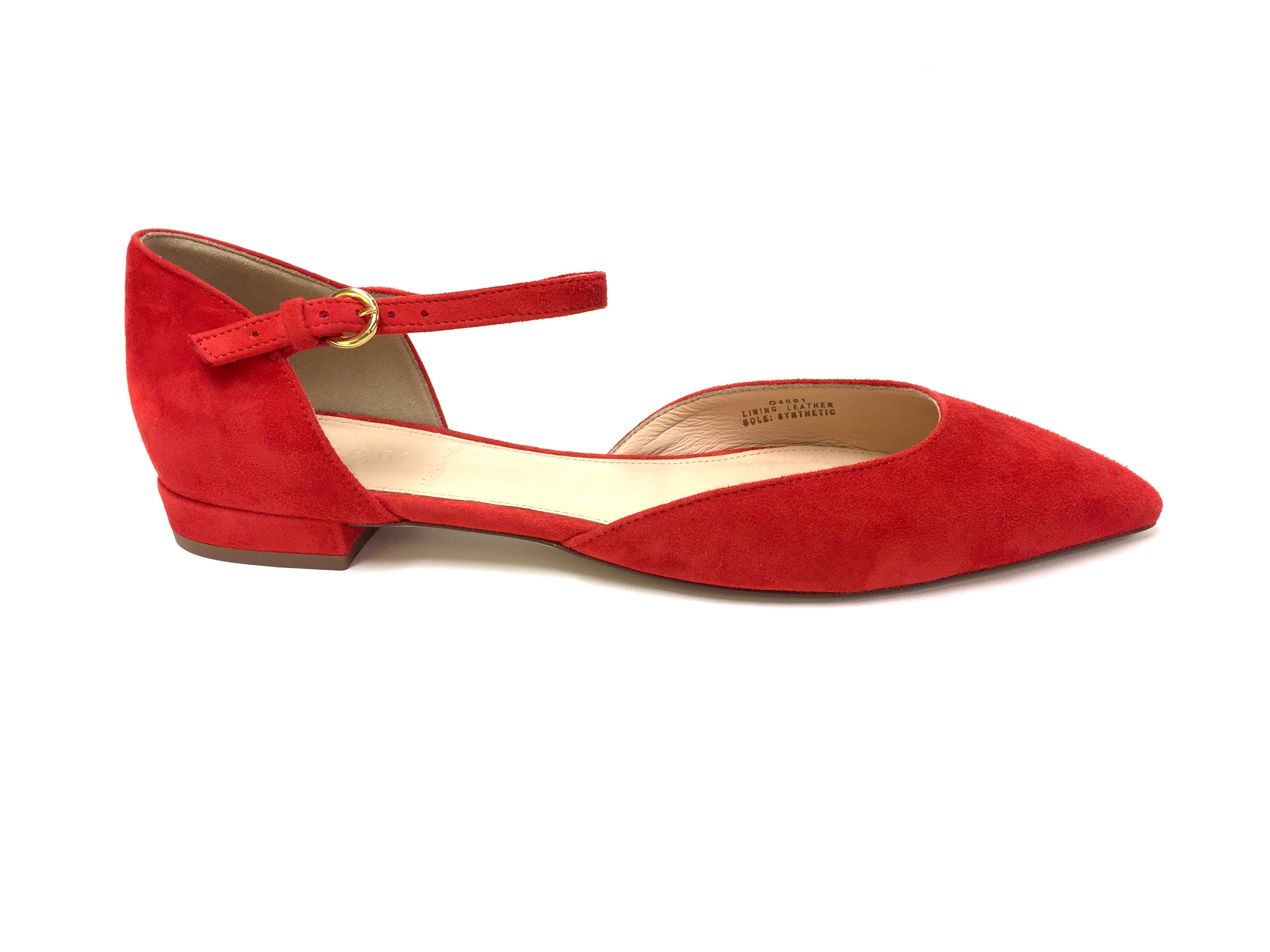 red suede flats cheap online