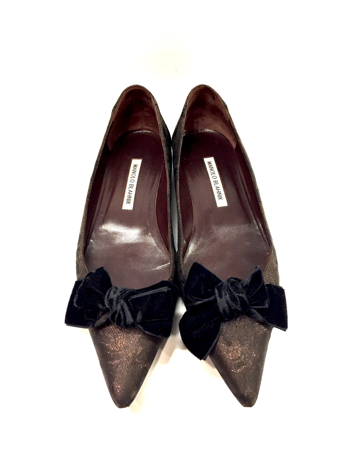 MANOLO BLAHNIK Brown/Black Metallic Floral Brocade Velvet-bow Pointed-Toe Flats Sz39