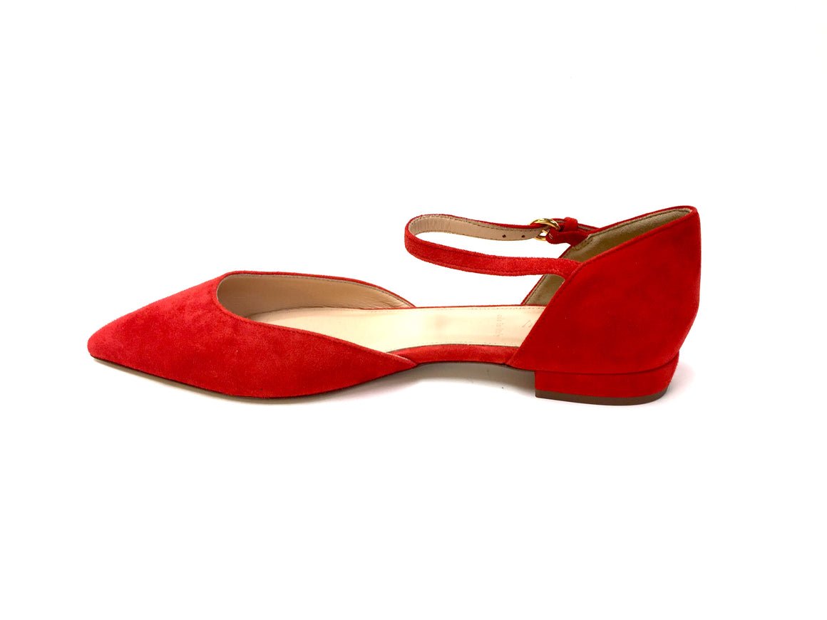 bisbiz.com J. CREW   Red Suede Ankle-Strap D'Orsay Flats Shoes  Size: 7 - Bis Luxury Resale