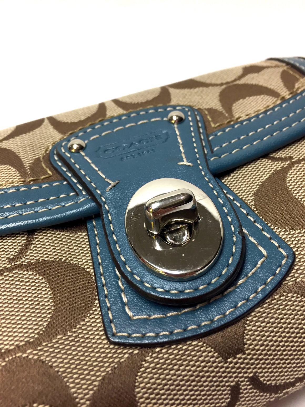 bisbiz.com COACH Beige/Brown Logo-Print Canvas Mini Purse/Wristlet w/Blue Leather Trim - Bis Luxury Resale