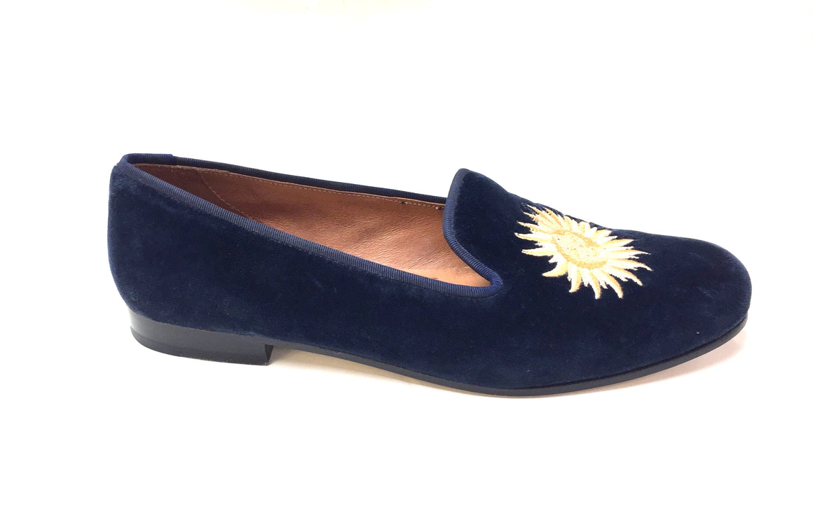 STUBBS & WOOTON Navy Velvet SUNRISE & SUNSET Sun Moon Stars Smoking Flats Size: 8