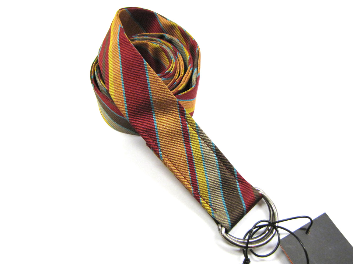 New NEW MAN France Multicolor Striped Silk Double D-Buckle Men's Belt Sz44/L