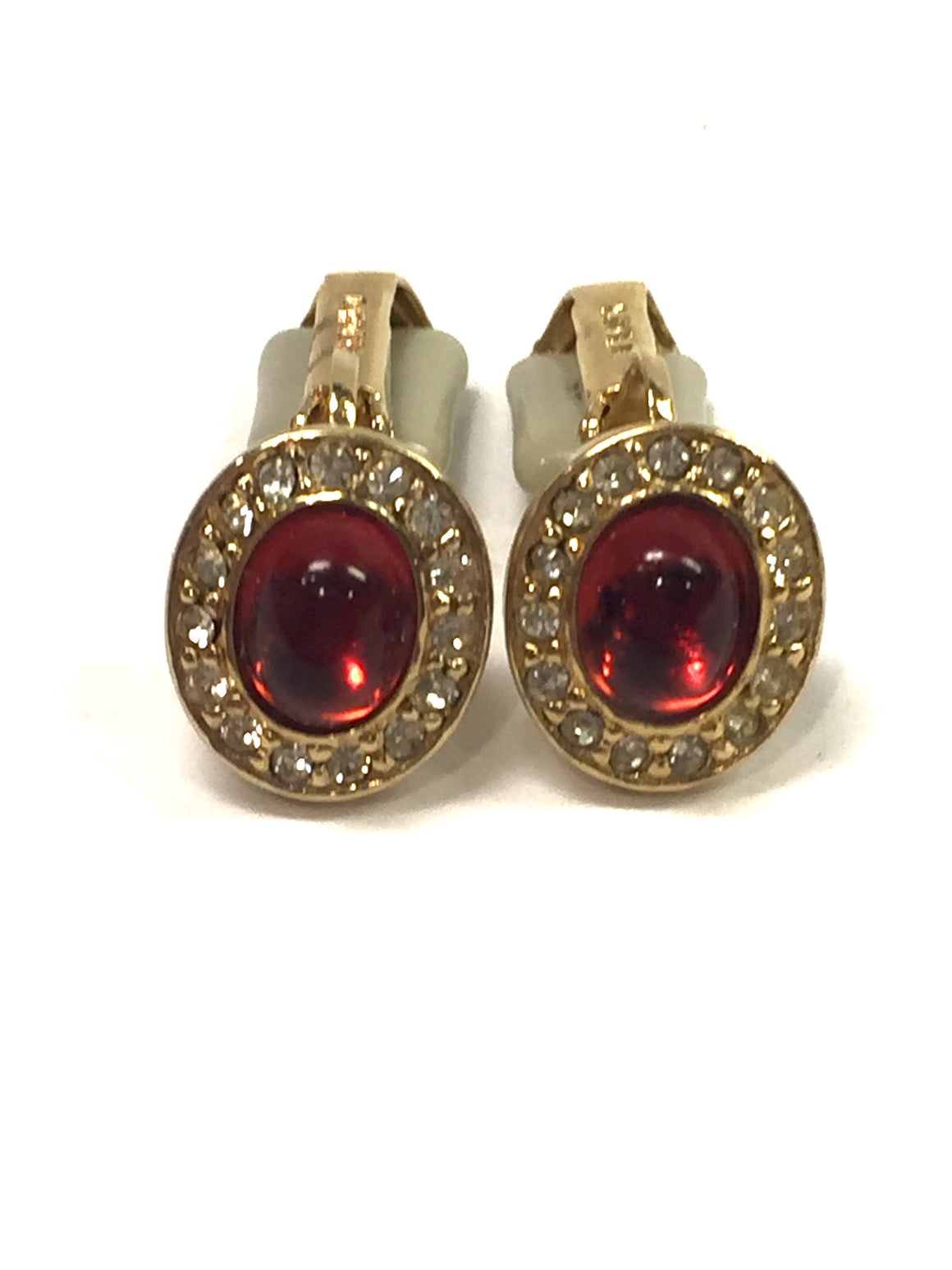 Vintage CINER Gilt Metal Red Cabochon Center Crystal Trim Clip-On Earrings