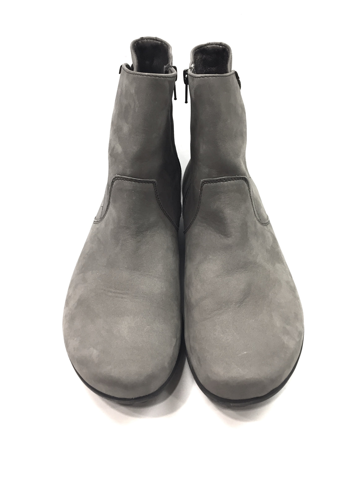 MEPHISTO Gray Suede Black Rubber Soles AIR JET Flat Ankle Boots Booties SzEU6/US8.5