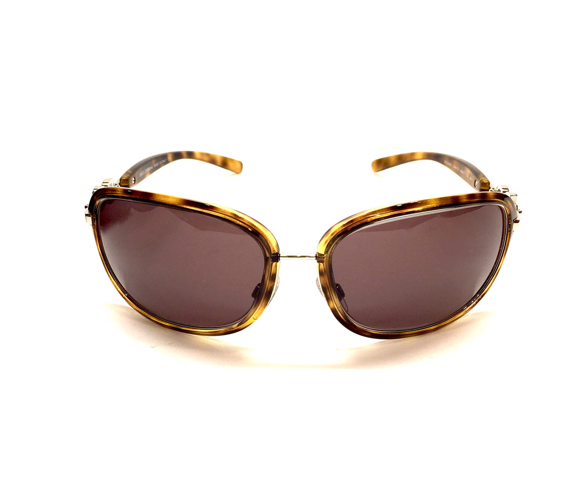 DOLCE & GABBANA Moc-Tortoise Gold Metal Trim Sunglasses w/Brown Tint Lenses