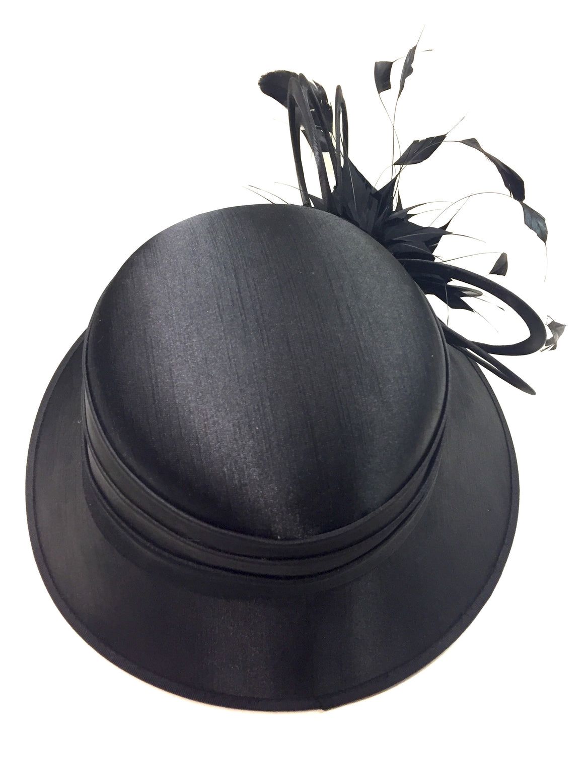 GIOVANNIO NEW YORK Black Molded Satin Polyester Feather Embellishment Brim Hat