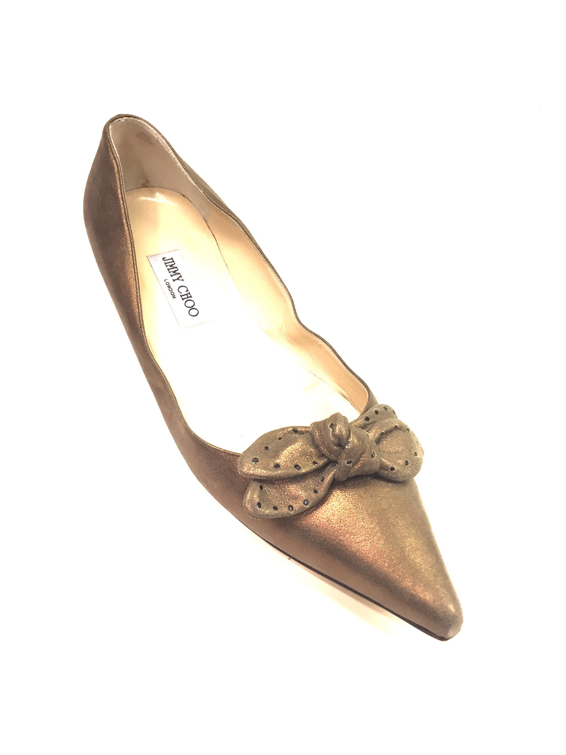 JIMMY CHOO Bronze Brushed Suede Pointed-Toe Bow Accent Flats Shoes Sz42