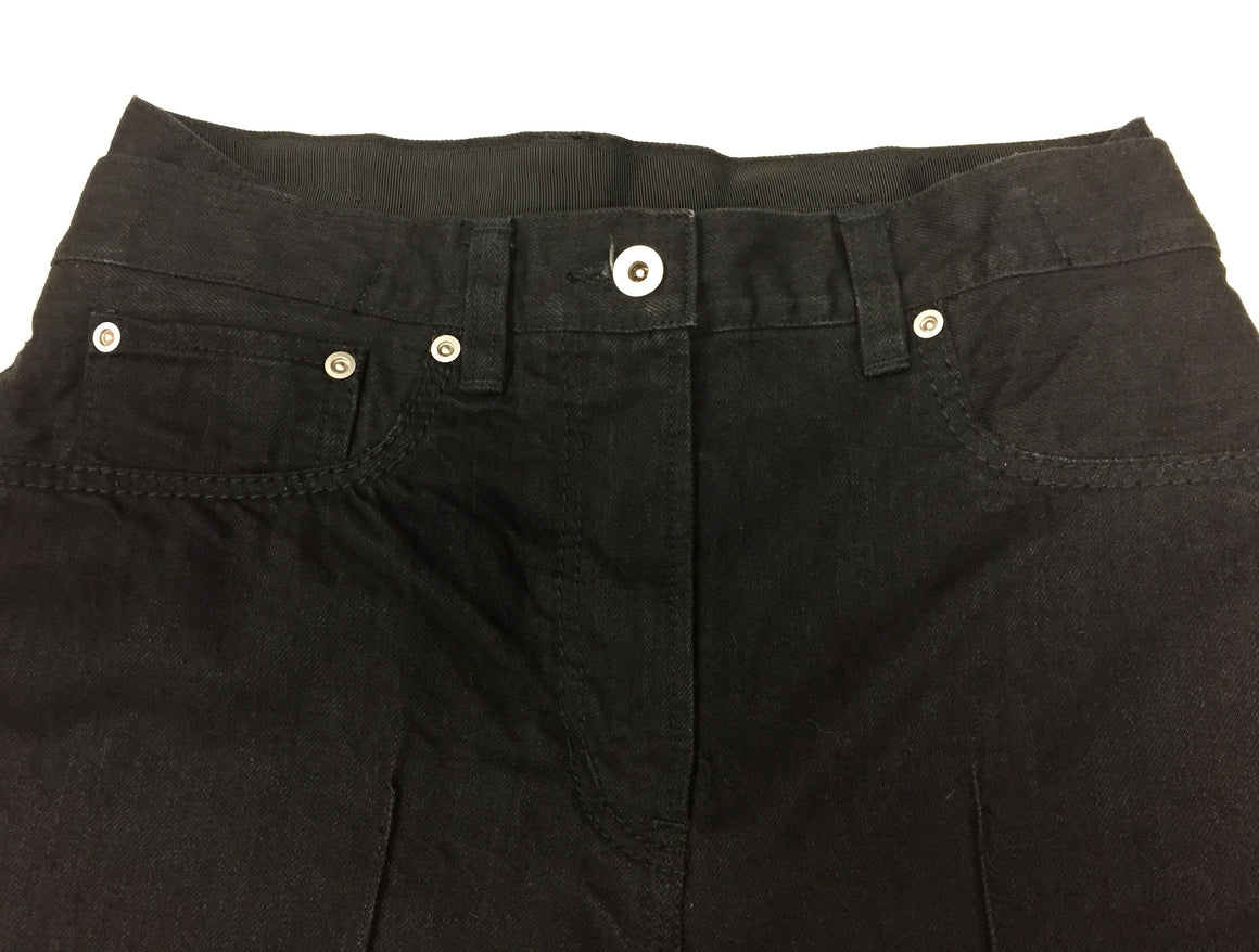 SACAI New with Tags Black Distressed Cotton Denim Wide-Leg Frayed Hem Cropped Pants Size: JP 1/ US4