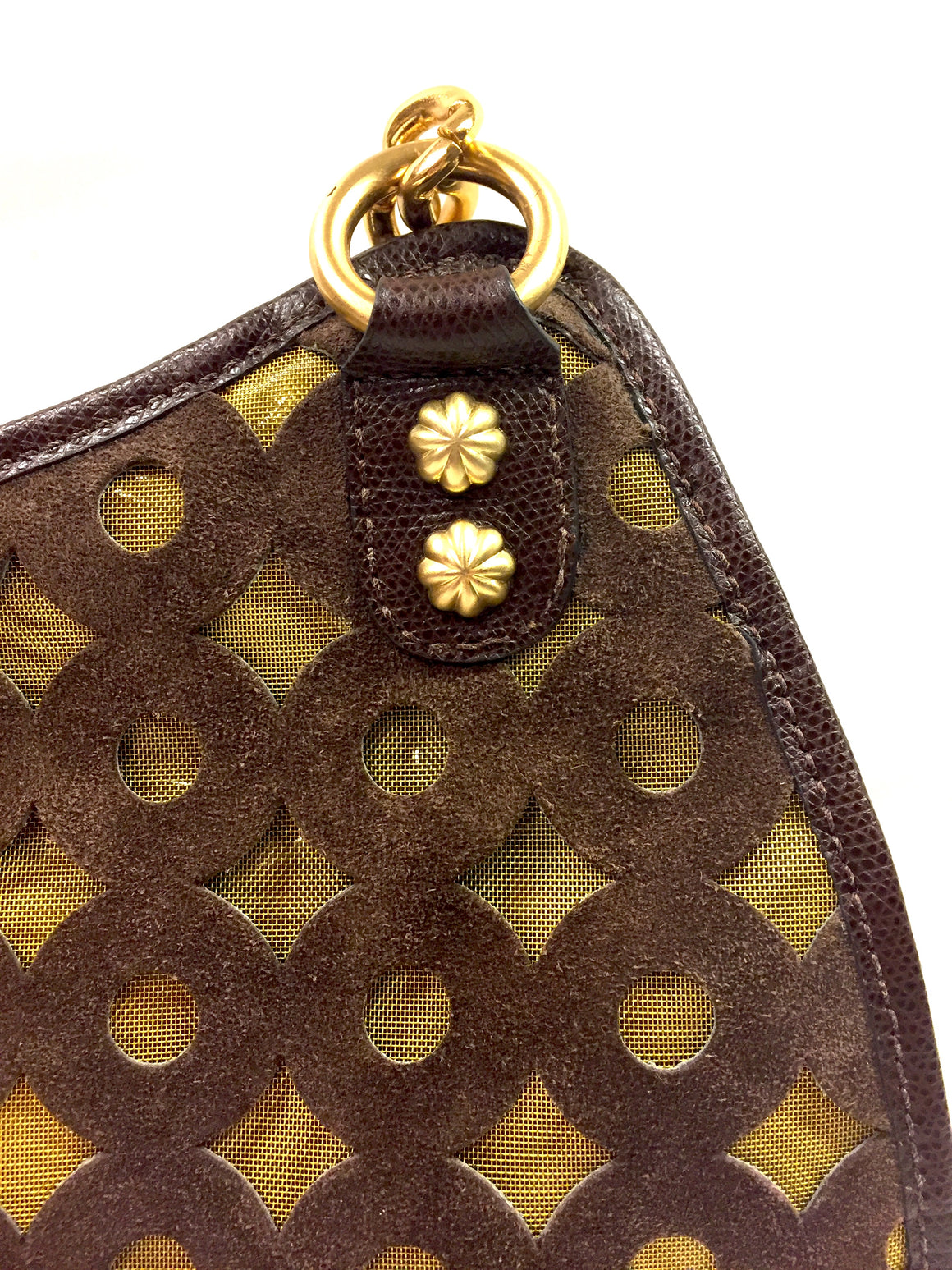 ERIC JAVITS Brown Circle-Patterned Suede & Metallic Gold Shoulder Bag