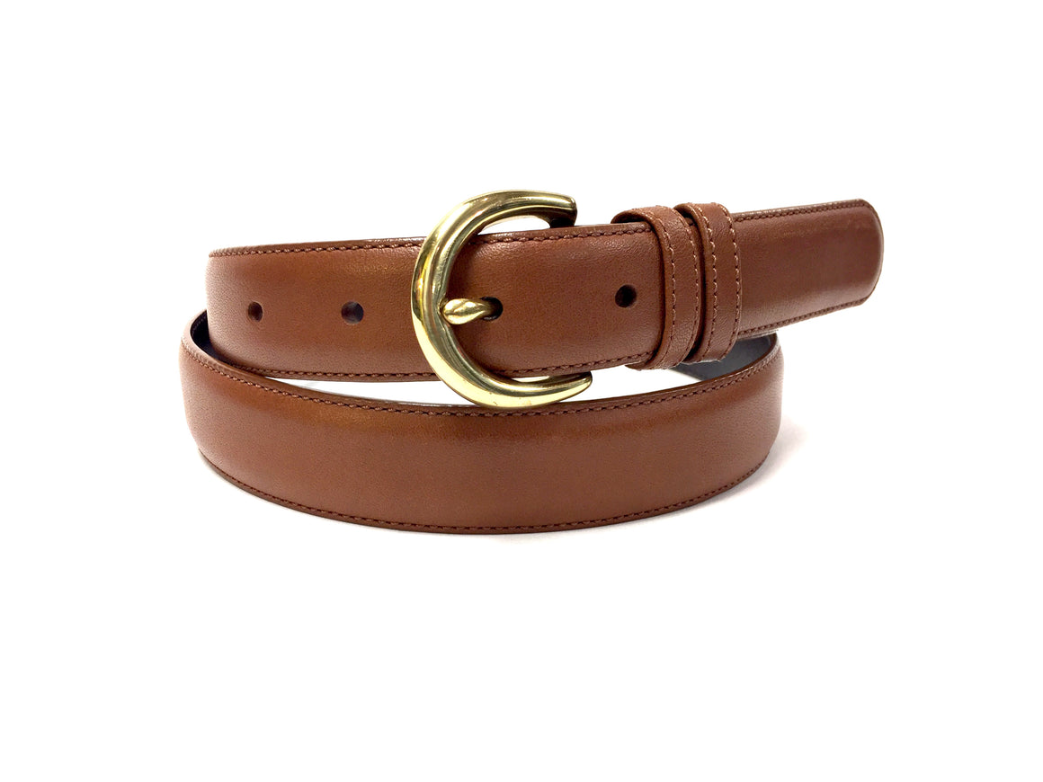bisbiz.com COACH British Tan Cowhide Leather Solid Brass Buckle Waist Belt Size: Large - Bis Luxury Resale