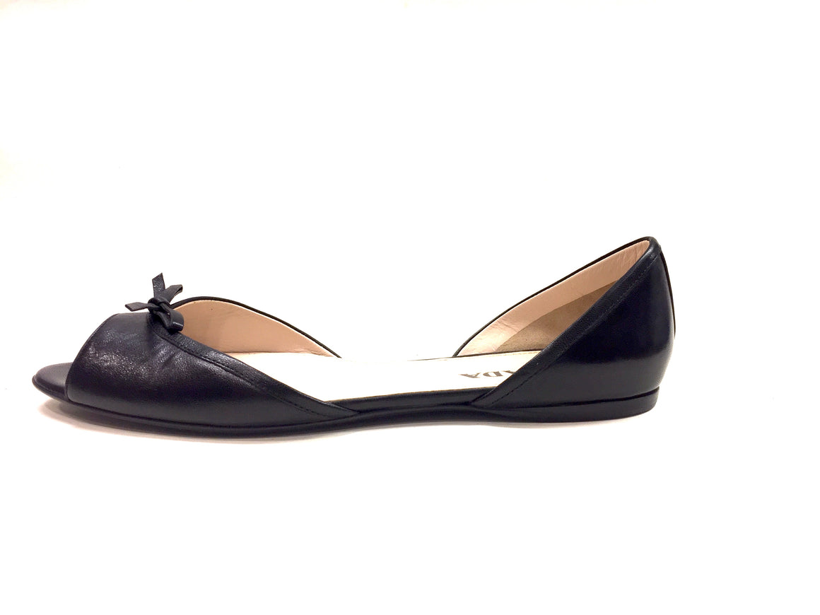 New PRADA Black Leather Open-Toe D-Orsay Bow Flats Shoes Sz37.5