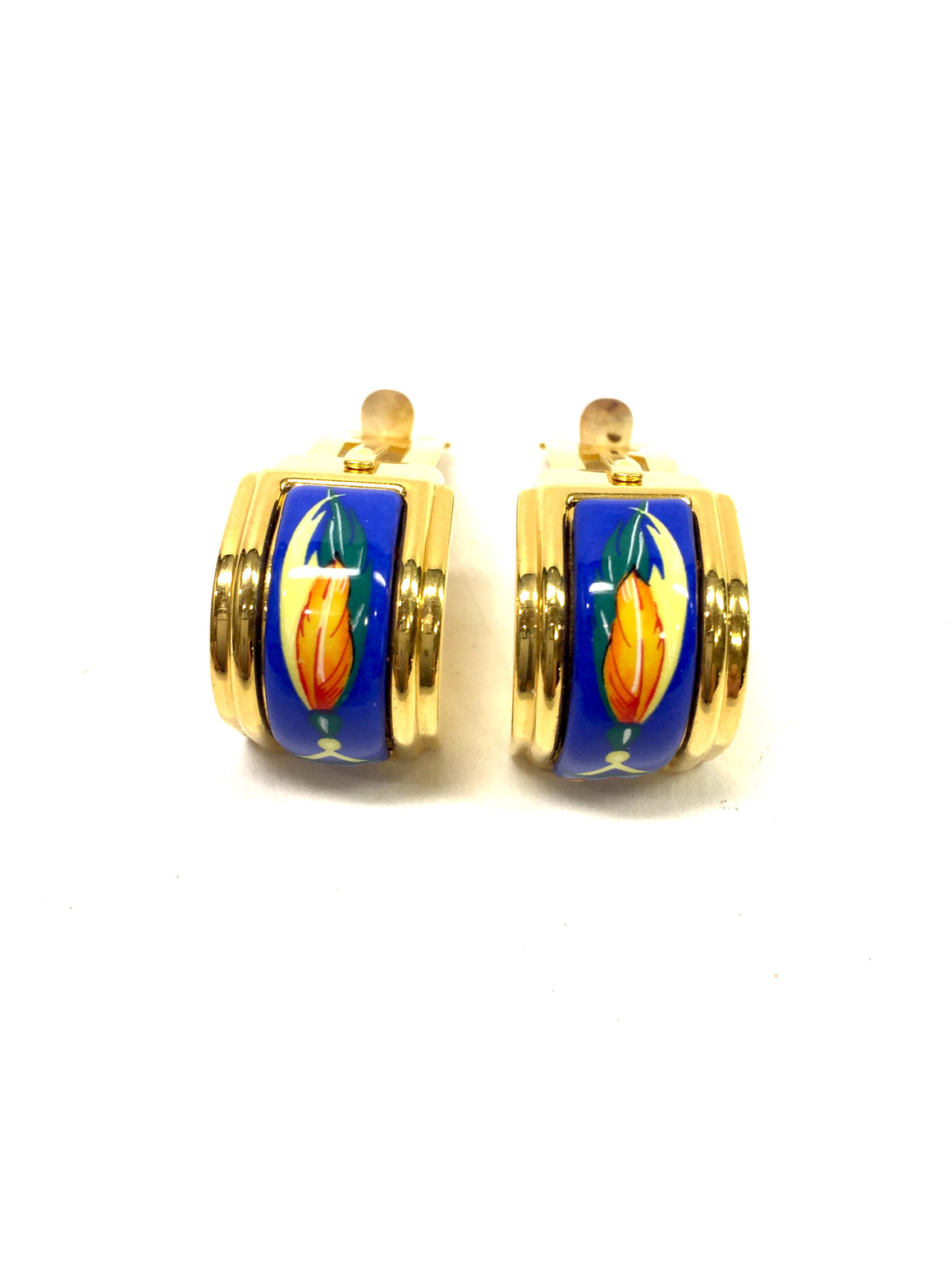 "bisbiz.com HERMES Rare Gilt Metal Royal-Blue Enamel ""FEATHERS"" Clip-on Earrings - Bis Luxury Resale"