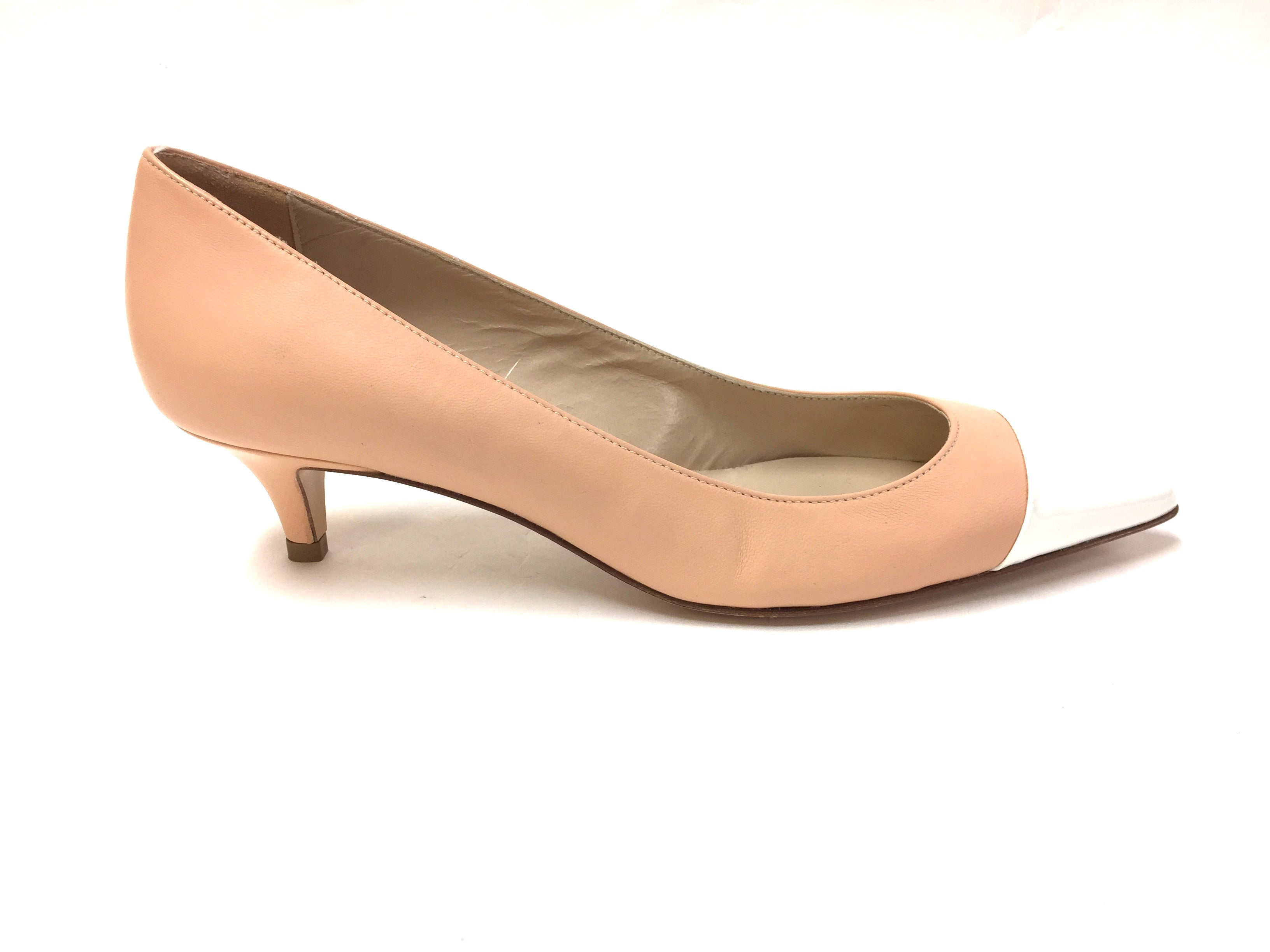 db7bb1e09aa PAOLO BERTINI New Nude Leather White Patent Leather Cap-Toe Kitten Heel  Pumps Shoes Size: 7